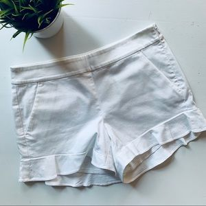 Ann Taylor LOFT White Ruffle Bottom Shorts 0